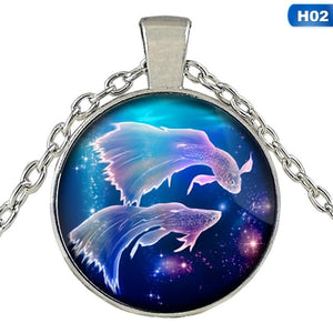 Women Pendant Necklace Galaxy Constellation Design 12 Zodiac Sign Horoscope Astrology