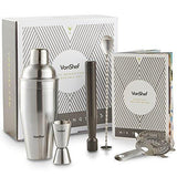 Vonshef 5 Piece Cocktail Set Luxury Manhattan Stainless Steel Shaker Kit Gift Box Accessories - The Happy Tourist LTD