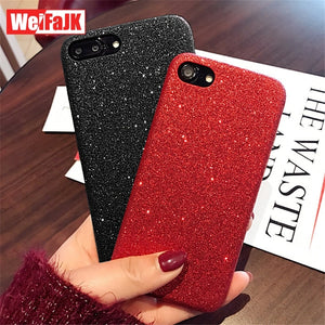 WeiFaJK Phone Case for iPhone 7 6 Plus Case for iPhone 6 6s 7 8 Plus Coque Fashion Red Glittering Soft Cover for iPhones 8 Cases
