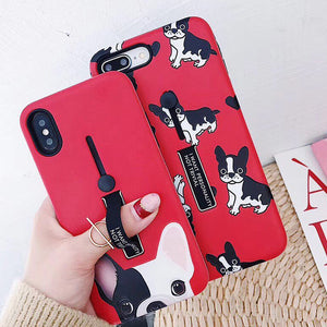 For iphones 7 Fashion red color silicon Ring Phone Case For iphone 6s 8 Plus XR Case Hide Stand Holder Cover For iphone X Xs MAX