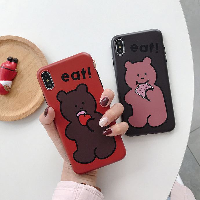 Lovely couple bear phone case for iphone 7 8 x xs max xr matte soft silicon candy case for iphon apple cookie bear 6 6s 7 8 plus
