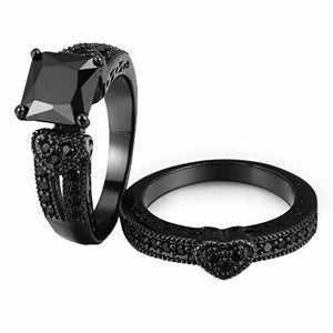 Black Titanium Couples Black Night Wedding Ring Set