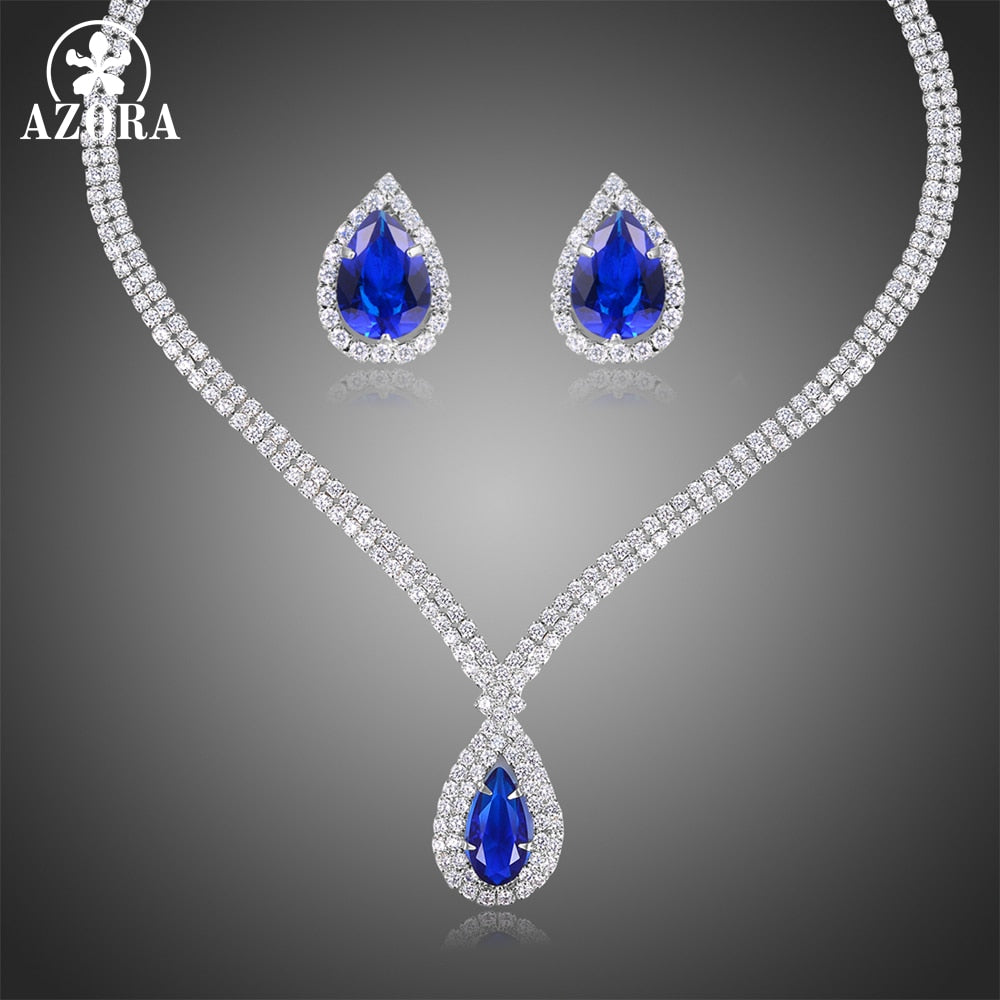 Conjunto Collar y Pendientes Brilliant Zirconia Blue