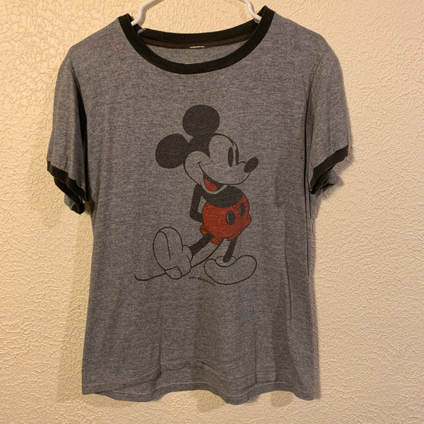 Vintage 70's/ 80's Grey Mickey Mouse Ringer T Shirt