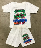 "Vintage TMNT Ninja Turtles ""Surf's Up"" T Shirt and Shorts Set"