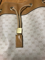 Vintage Authentic Gucci Monogram Print Cinch Tote Purse Bag