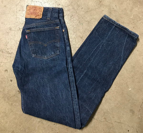 Vintage Levi's Button Fly Dark Wash High Waisted Jeans 28x32