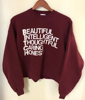 Vintage Maroon Crop Top Sweatshirt
