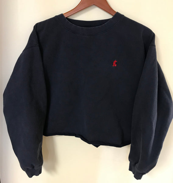 Vintage Navy Blue Embroidered Mickey Mouse Crop Top Sweatshirt