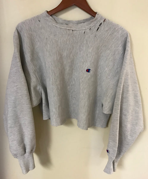 Vintage 90's Grey Distressed Champion Reverse Weave Crop Top Sweatshirt