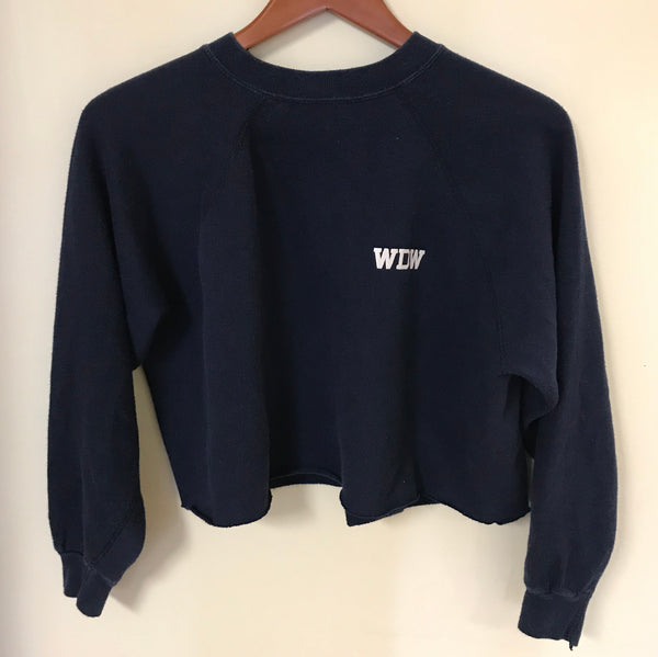 Vintage 70's Navy Blue Walt Disney World Crop Top Sweatshirt
