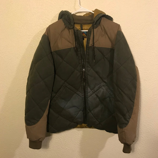 Eddie Bauer Olive Green Down Quilted Sunfaded Jacket