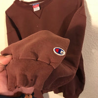 Distressed Champion Faded Maroon Red Crewneck