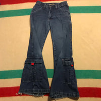 Vintage Dark Wash Denim Bell Bottom Jeans Sz 1