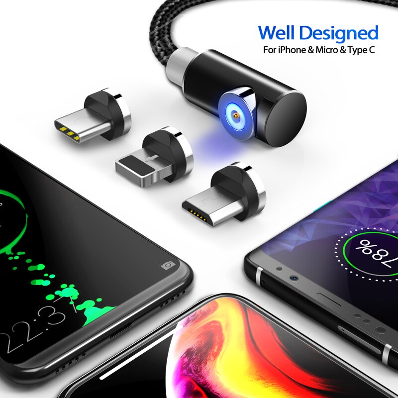 3-in-1 Magnetic Cable Charger - Micro USB, Type C, Lightning Fast Charger Adapter