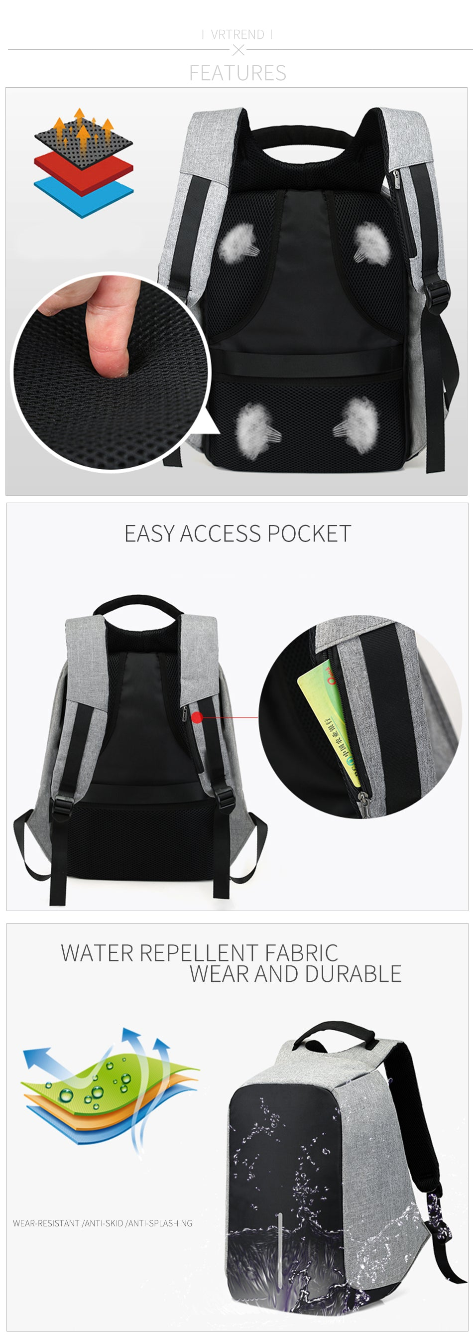 15-inch Laptop USB Charging Anti-Theft Waterproof Backpack