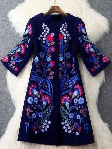 Plus Size Long Sleeve Floral Outerwear