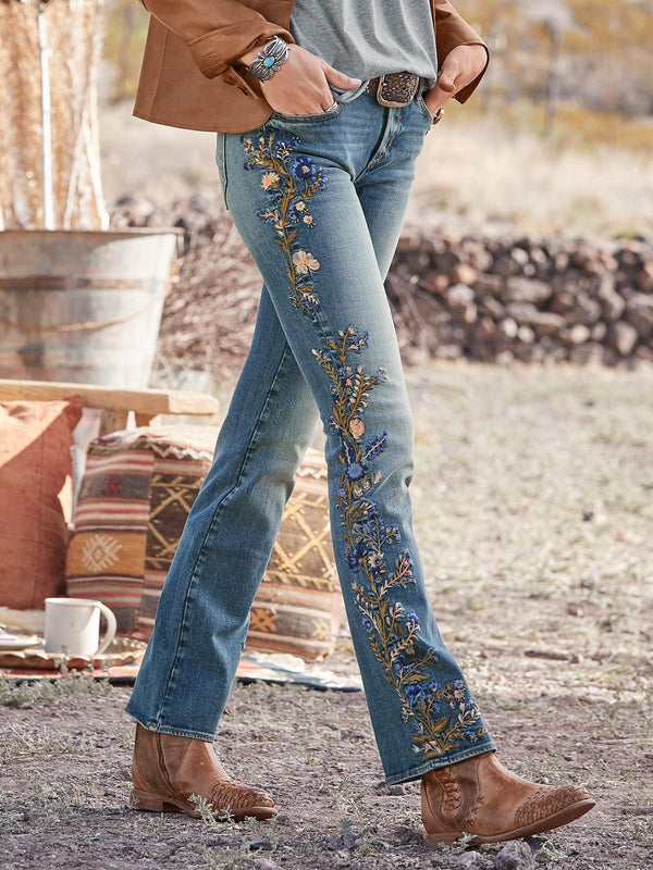Women Floral Print Vintage Denim Pants