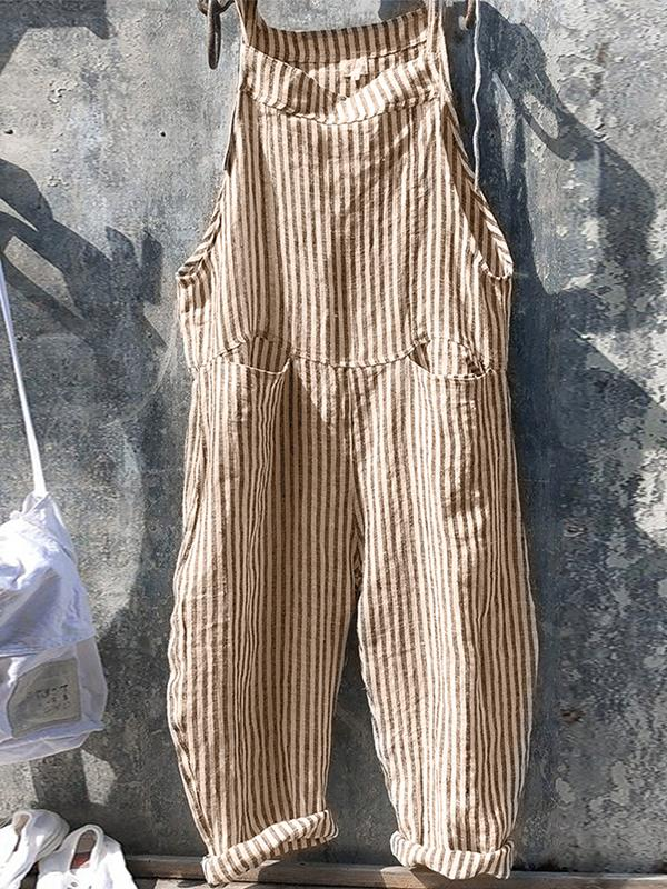 2020 Women striped Solid Jumpsuit Overall Pants