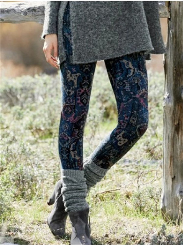 Casual Vintage Printed Legging Pants