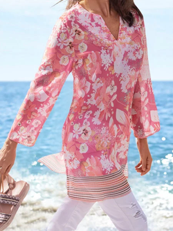 Pink Printed Floral Long Sleeve Shirts & Tops