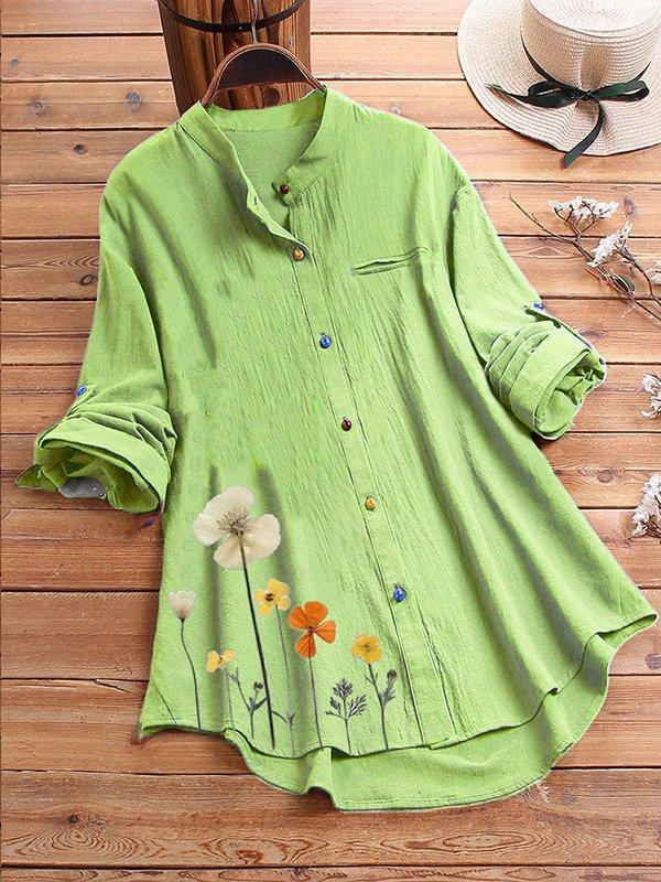 Women Long Sleeve Stand Collar Cotton Shirts & Tops