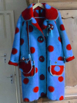 Lapel Polka Dot Print Long Sleeve Long Coat