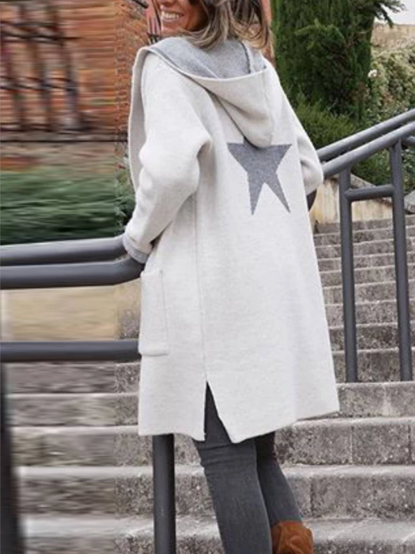 White Plain Long Sleeve Hoodie Outerwear