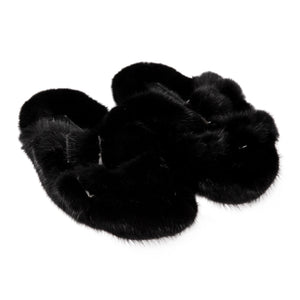 DUCKIE CONFETTI FUR SLIDES BLACK