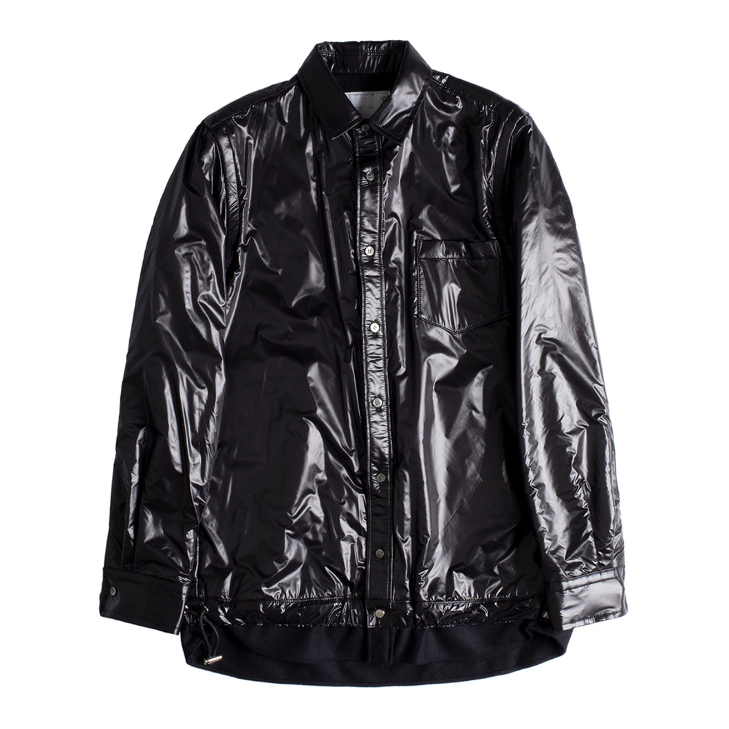 SACAI MELTON NYLON SHIRT BLACK
