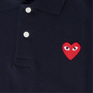 COMME DES GARCONS PLAY POLO SHIRT WITH RED HEART BLUE