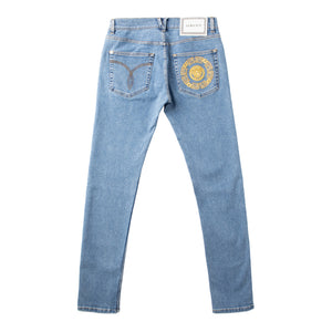 VERSACE EMBROIDERED-POCKET JEANS BLUE