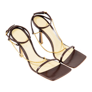 BOTTEGA VENETA CHAIN EMBELLISHED LEATHER SANDALS BROWN