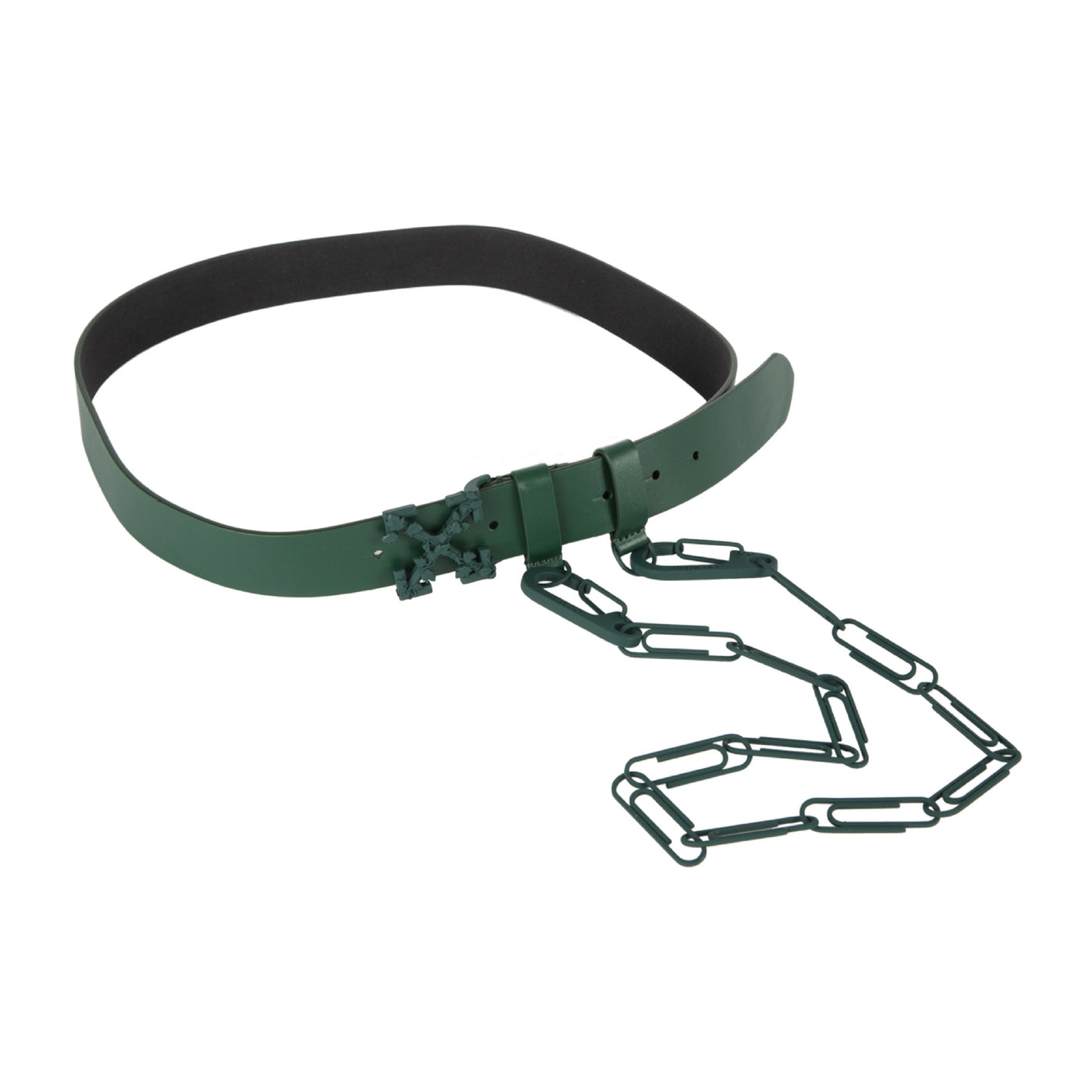 Load image into Gallery viewer, OFF-WHITE LEATHER BELT WITH CHAIN GREEN