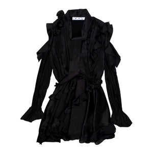 OFF-WHITE CRINKLED DRESS BLACK