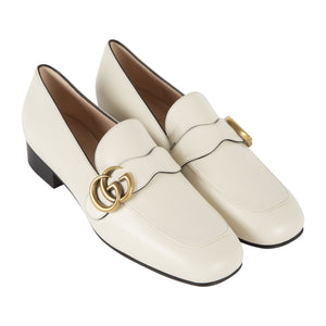 "GUCCI ""MARMONT"" LEATHER LOAFER WHITE"