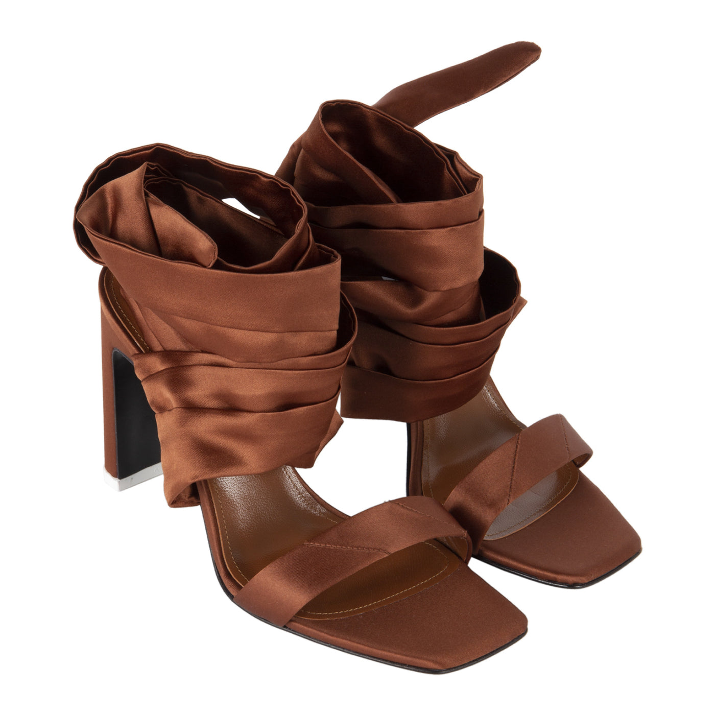Load image into Gallery viewer, ATTICO HIGH HEEL SATIN ANKLE STRAP SANDAL BROWN