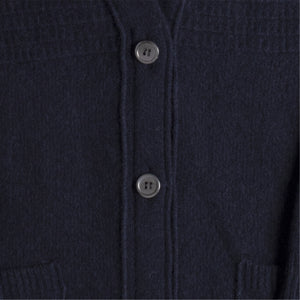 THOM BROWNE OVERWASHED LONG CARDIGAN BLUE