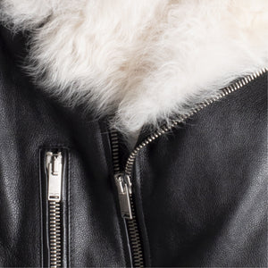 SAINT LAURENT SHEARLING TRIM MOTORCYCLE JACKET BLACK