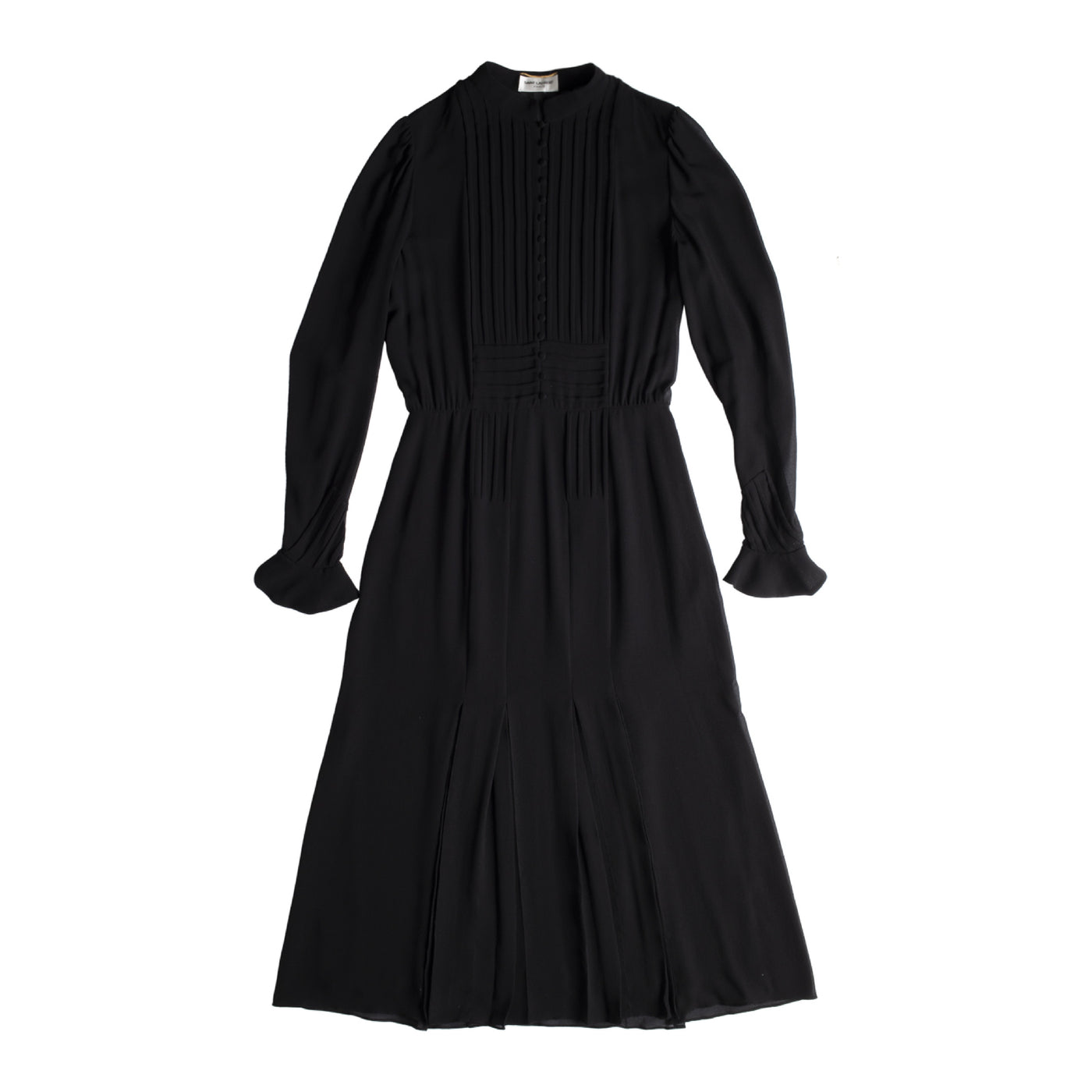 Load image into Gallery viewer, SAINT LAURENT LONG SLEEVE SILK DRESS BLACK