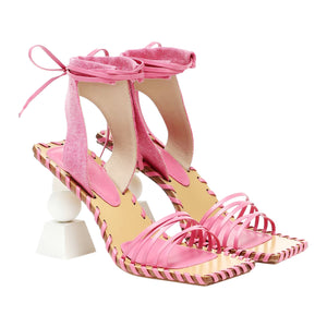 JACQUEMUS HIGH HEEL LEATHER SANDALS PINK