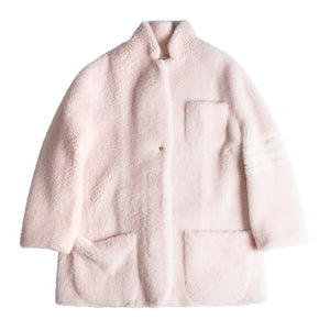 THOM BROWNE OVERSIZED SHEARLING JACKET PINK