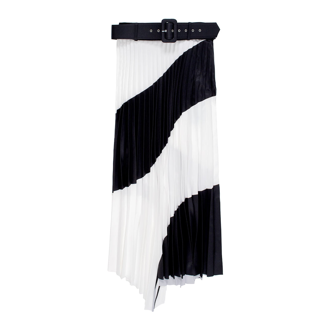 OFF-WHITE SPIRAL PLISSE SKIRT BLACK