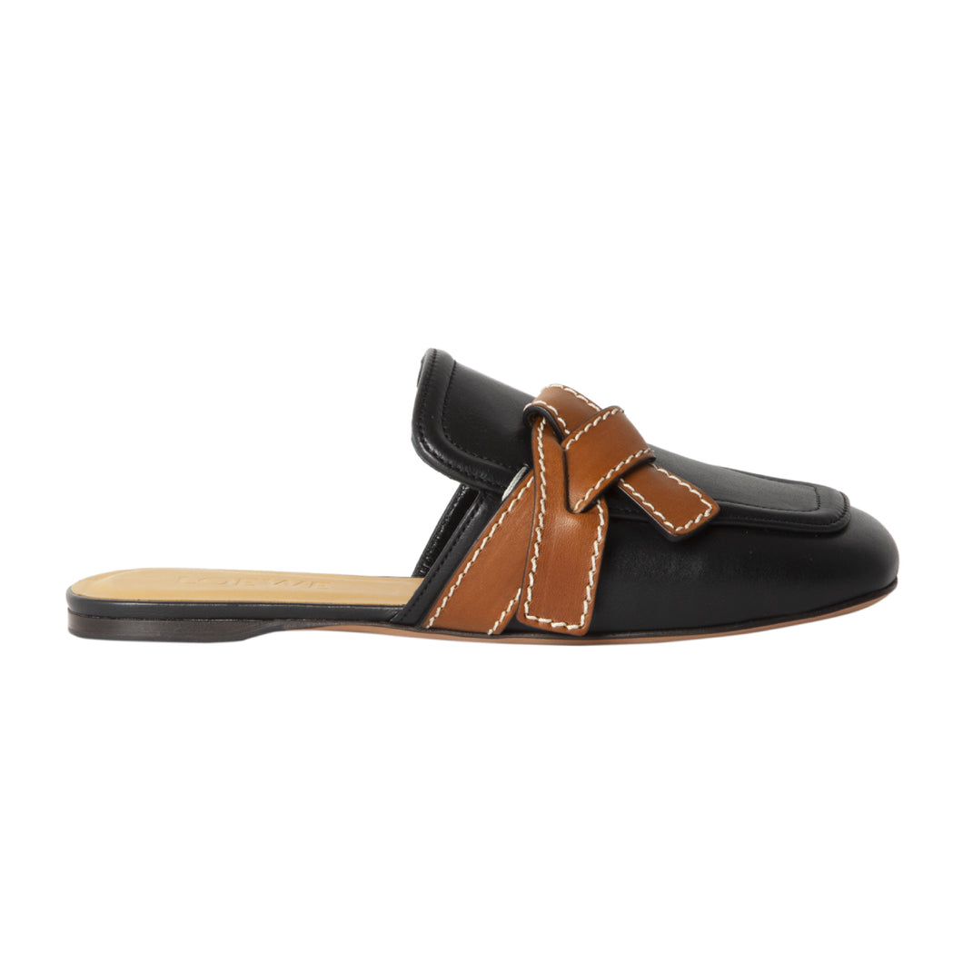 LOEWE KNOT-FRONT MULES BLACK