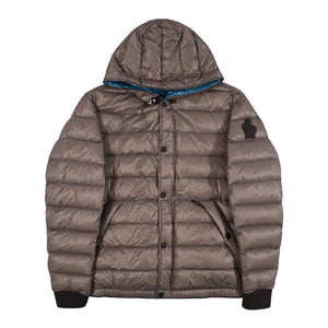 MONCLER HOODED PUFFER JACKET BROWN