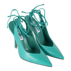 ATTICO ANKLE-WRAP LEATHER SLINGBACK PUMPS GREEN