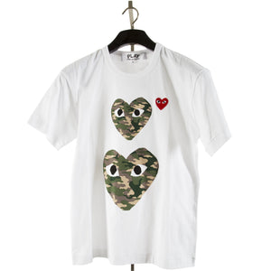COMME DES GARCONS PLAY TRIPLE-HEARTS T-SHIRT MULTI