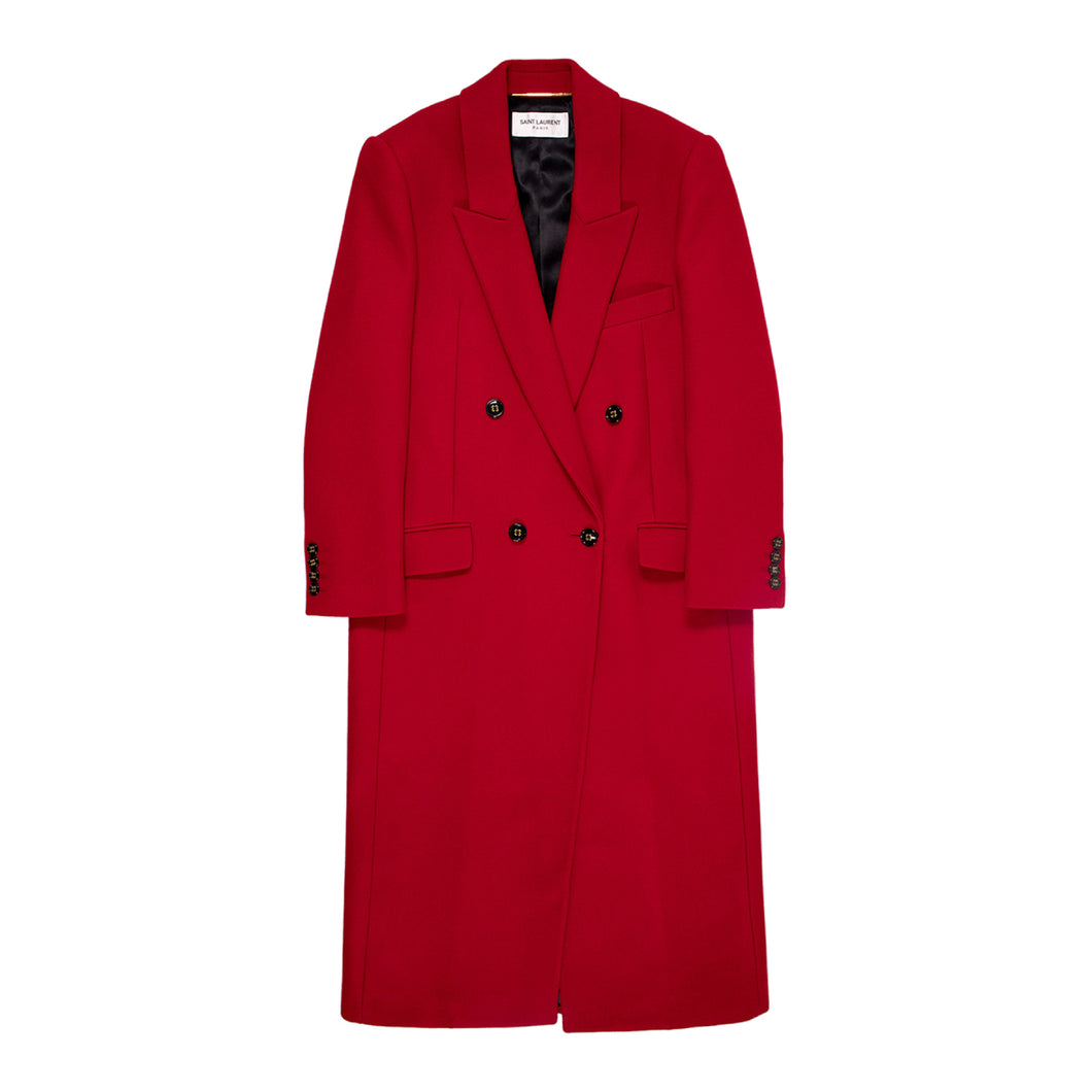 SAINT LAURENT DOUBLE-BREASTED CASHMERE COAT RED