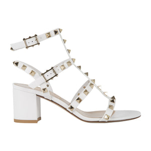 VALENTINO CAGED ROCKSTUD BLOCK-HEEL SANDALS WHITE