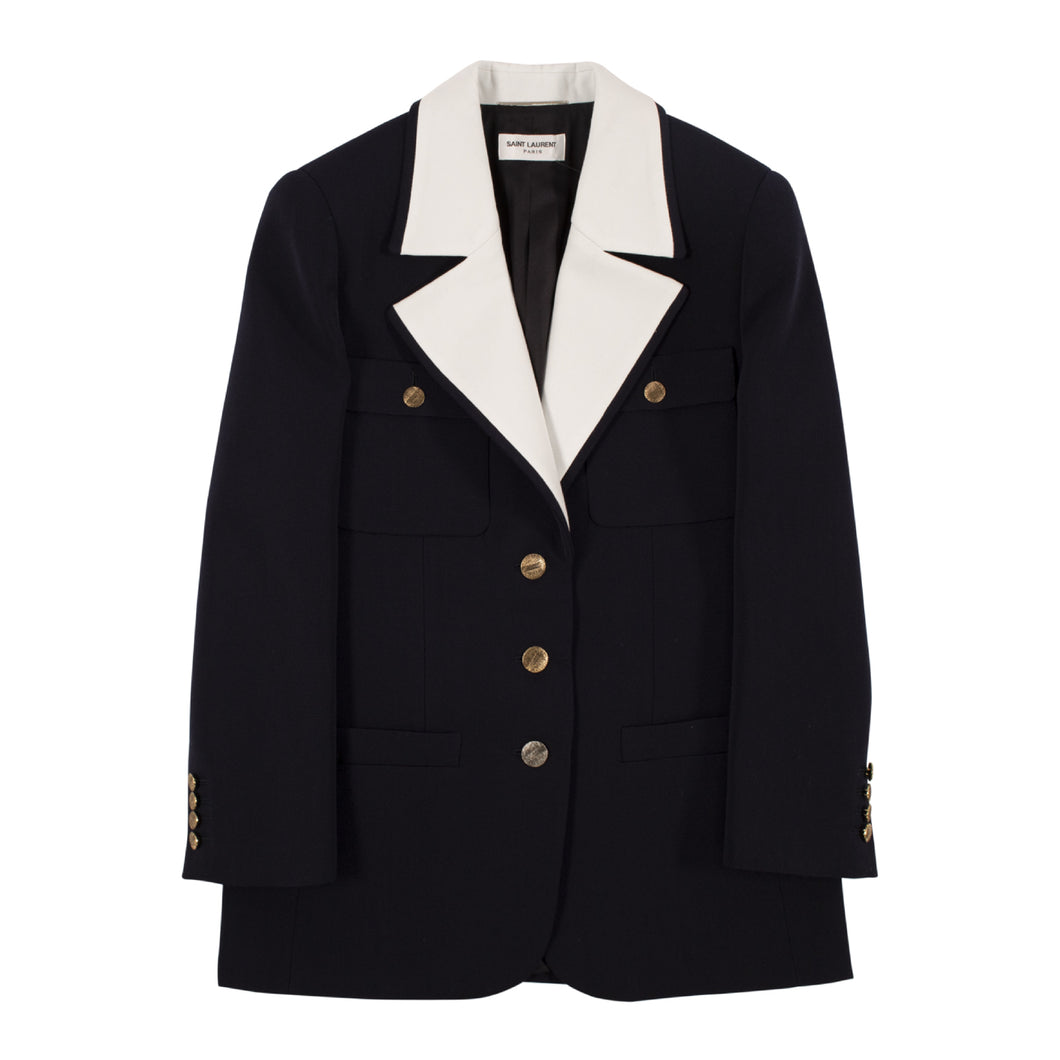 SAINT LAURENT CONTRAST-COLLAR BLAZER NAVY
